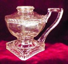 Antique Kerosene Finger Lamp Greek Key Roman Early American Pattern Glass 1890