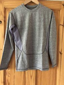 Ladies Medium Grey Compression Base Layer Top Long Sleeve Thermal Sports Shirt