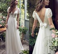 Chiffon Beach Wedding Dresses Boho Lace Deep V-neck Backless A-line Bridal Gown