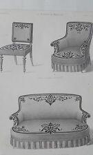 Chaise Fauteuil Garniture Drap GRAVURE le MAGASIN de MEUBLES Victor QUETIN 18éme
