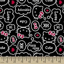 "Hello Kitty Thought bubbles allover Black 100% cotton 43"" Fabric by the yard"