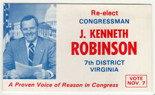 J KENNETH ROBINSON Congress US HOUSE Virginia POLITICAL Palm Card WINCHESTER