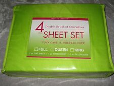 4 pc Full Brushed Microfiber Green Sheet Set Bed Sleep Wrinkle Resistant NEW!