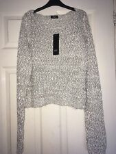 F&F Grey Ribbon Marl Cropped Jumper womens size 16 NEW With Tags