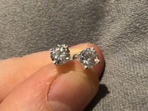 0.5 Carat Diamond Brilliant Cut Solitaire Stud Earrings Set In Platinum Finish