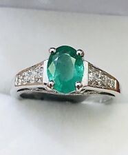 14k Solid white gold Natural Diamond & Colombian Emerald ring May Birthstone