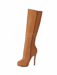 Wide Calf Boots Brown Round Toe Zip Up Knee High Boots 5.5, CN 35