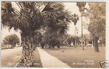 RPPC - McAllen, TX - Archer Park & Hotel Casa de Palmas - 1938