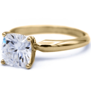 2.50ct Cushion Diamond 4 Prong Fancy Solitaire Wedding Ring 14k Yellow Gold