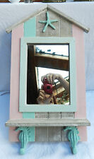 Nautical / Seaside Theme  Wall Mirror with Shelf & Hooks  - Shabby Chic - BNIB