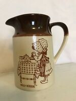 """Vintage Holly Hobbie """"Hearth and Home""""  stoneware looking ceramic milk pitcher"""