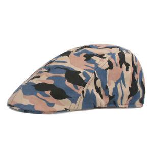 Mens Classic Camouflage Beret Newsboy Hat Golf Outdoor Ivy Hats Cabbie Flat Cap