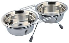 Anti Rattle Eat on Feet Stainless Steel Dog Bowl Set for Dogs 2 x 0.9L