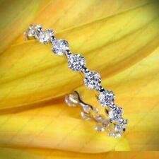 2mm Round Moissanite Full Eternity Anniversary Wedding Band 14K White Gold Over