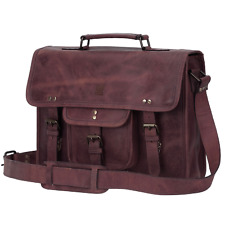 """Handmade Buffalo Classic Genuine Leather Briefcase Office Bag 15"""" (Mulberry)"""
