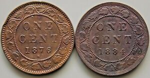 1876 1884  Canada Canadian Large 1 Cent Victoria Coins - Lot Of 2