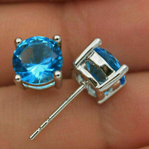 2Ct Round Cut Blue Topaz Valentine Gift Pretty Stud Earrings 14K White Gold Over