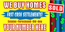 WE BUY HOMES HORIZONTAL BANNERS (CHOOSE A SIZE) NEW! ENTER YOUR OWN NUMBER