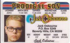 Jack Osbourne novelty collectors card Drivers License