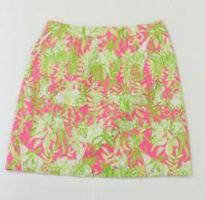 Lilly Pulitzer Pink Green Floral Animal Print Skirt Sz 2 Elephant Giraffe Zebra