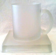Frosted Glass Coffee Mug 12 oz Heavy Cup  and 1 inch Thick Glass Coaster