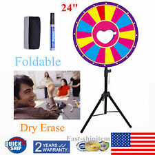 "24"" 18 Slot Spinning Game Dry Erase Color Prize Wheel Folding Fortune Party Game"