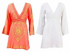 Womens Kaftan V Neck Embroidered Dress Summer Beach Cover Up Ladies Size UK 6-16