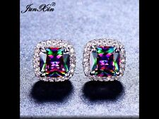 Brand New Rainbow Mystic Topaz Cubic Zirconia Earrings Silver /White Gold Colour