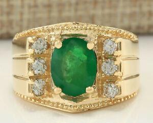 MENS 2.87 Carat Natural Emerald 14K Yellow Gold Diamond Ring