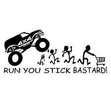 "Black ""RUN YOU STICK BASTARD!"" Funny Car Sticker Bumper Window Door Wall Fender"