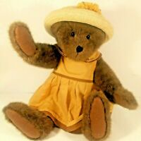 Boyd Girl Bear With Straw Hat Yellow Flowers an Dress Jointed Head Arms Legs 17""