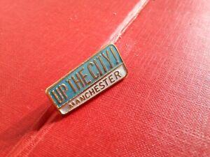 Vintage Football Enamel Badge Manchester City Up The City Coffer Northampton