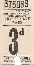 B.T.C. Bell Punch Ticket - 3d. Excess Fare Paid