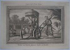 1771 Incisione giapponese Donna in una berlina Sedia a ruote da una Storia Ferrovia Giappone
