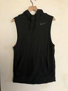 Nike Training Dri-Fit Sleeveless Hoodie Pullover Pocket Grey Mens Small