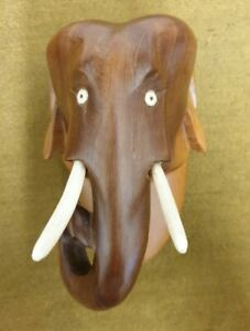 Wooden Elephant Head 14cm Wall Decoration Hand Carved Ornament Home Decor.