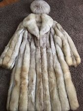 VINTAGE FULL LENGTH SILVER FOX AND LEATHER COAT WITH MATCHING HAT SIZE M 8-10