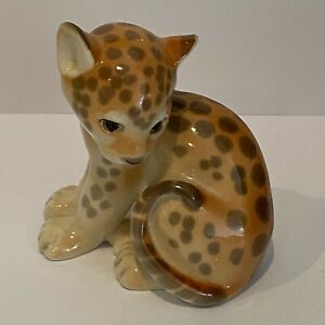 Lomonosov Russian Porcelain Made in USSR Leopard Cub Sitting Excellent Condition
