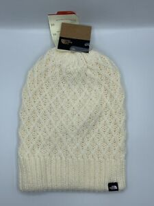 The North Face Shinsky Beanie Vintage White Reversible One Size Knit NWT