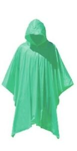 Rain Poncho Waterproof Plastic Emergency Rain Hat Hood Ladies Mens Adult Child