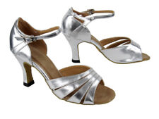 1680 Silver Leather Swing Salsa Mambo Latin Dance Shoes heel 3 Size 7 Very fine