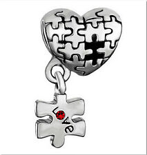 1Pcs Red Crystal Silver Heart Puzzle Charm Bead Fit 925 Bracelet/Necklace