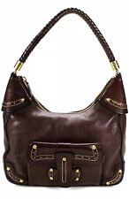 MK Michael Kors Womens Braid Strap Leather Satchel Handbag Brown Rare Vintage