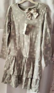Gymboree Christmas Snowflake Dress Gray and White Size 10 NWT