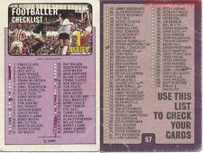 057 CHECKLIST 1 TO 170 ENGLAND CARD FOOTBALLER 1972 PURPLE BACK AB&C