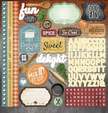 """PAPER HOUSE DELISH COOKING BAKING KITCHEN 12""""X12"""" CARDSTOCK SCRAPBOOK STICKERS"""