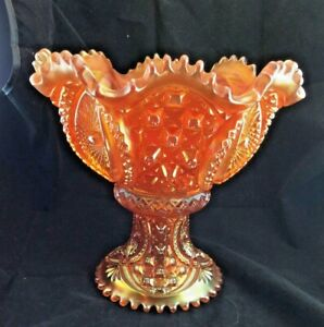 Memphis Northwood Marigold Carnival Glass Punch Bowl and Base
