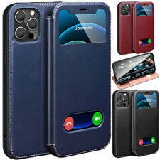 Fashion Genuine Leather View Flip Stand Case Cover For iPhone 12 Mini 11 Pro Max