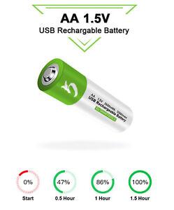 1.5V AA Akku lithium-ionen Battery 2600mWh 100% cap.li-polymer per USB aufladbar