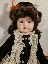 Porcelain Simon Halbig Blue Eye Baby Doll Brown Hair Articulated Vintage Repro
